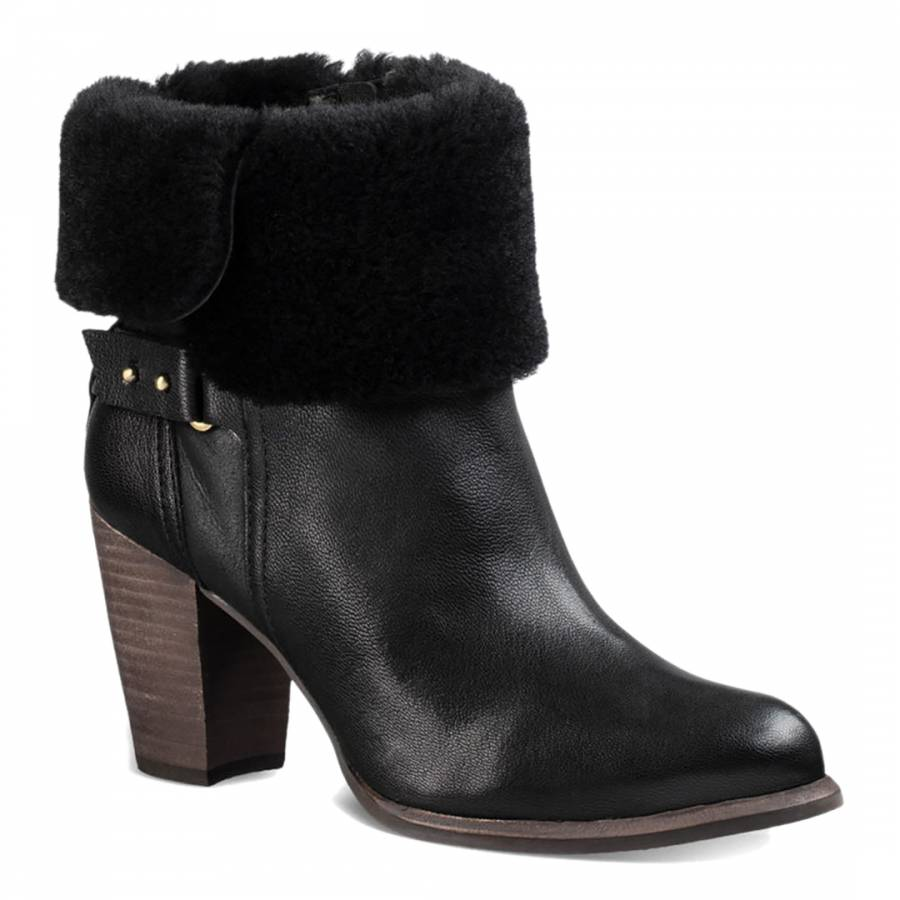 26b9b44a99f Black Leather Jayne Boots - BrandAlley