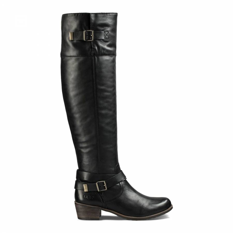 7da69df2954 UGG Black Leather Bess Riding Boots