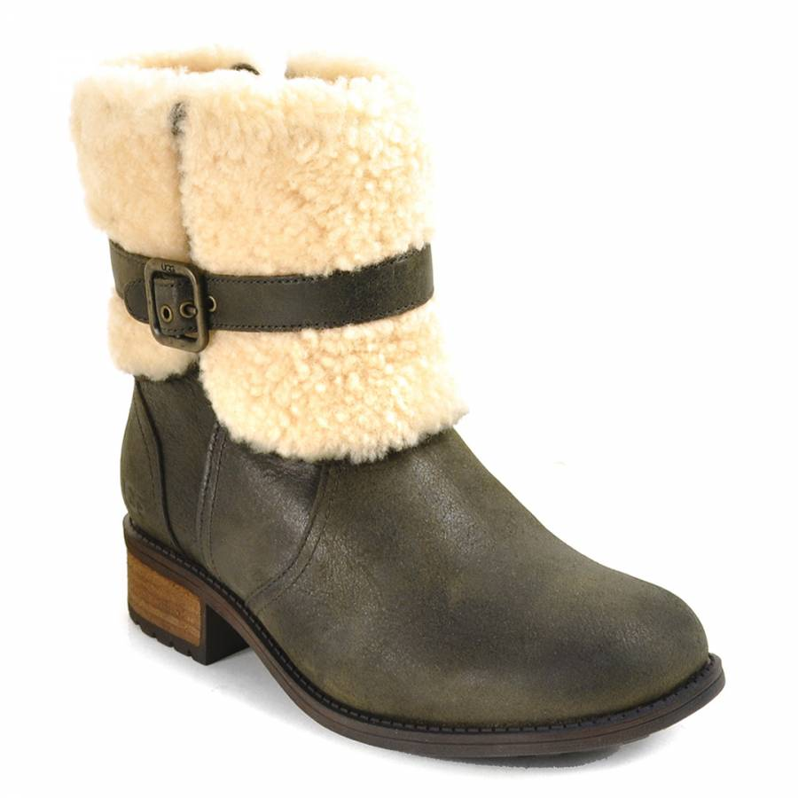 25598547c0d UGG Black Leather Blayre II Ankle Boots