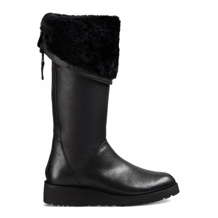 f7117252433 Black Leather Kendi Boots - BrandAlley