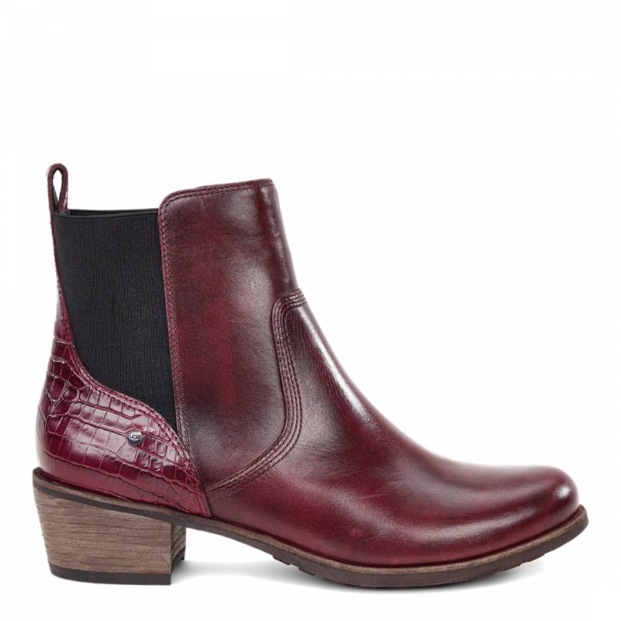 57971bb93a5 Burgundy Leather Keller Croco Chelsea Boots
