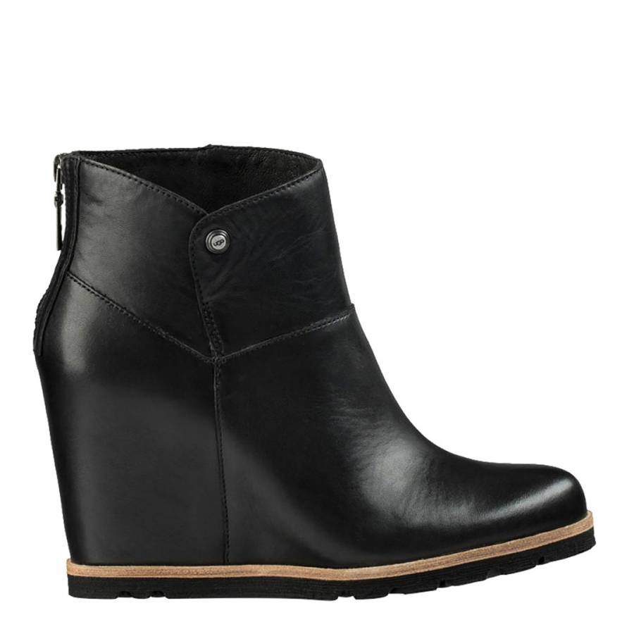 Black Leather Amal Wedge Ankle Boots - BrandAlley