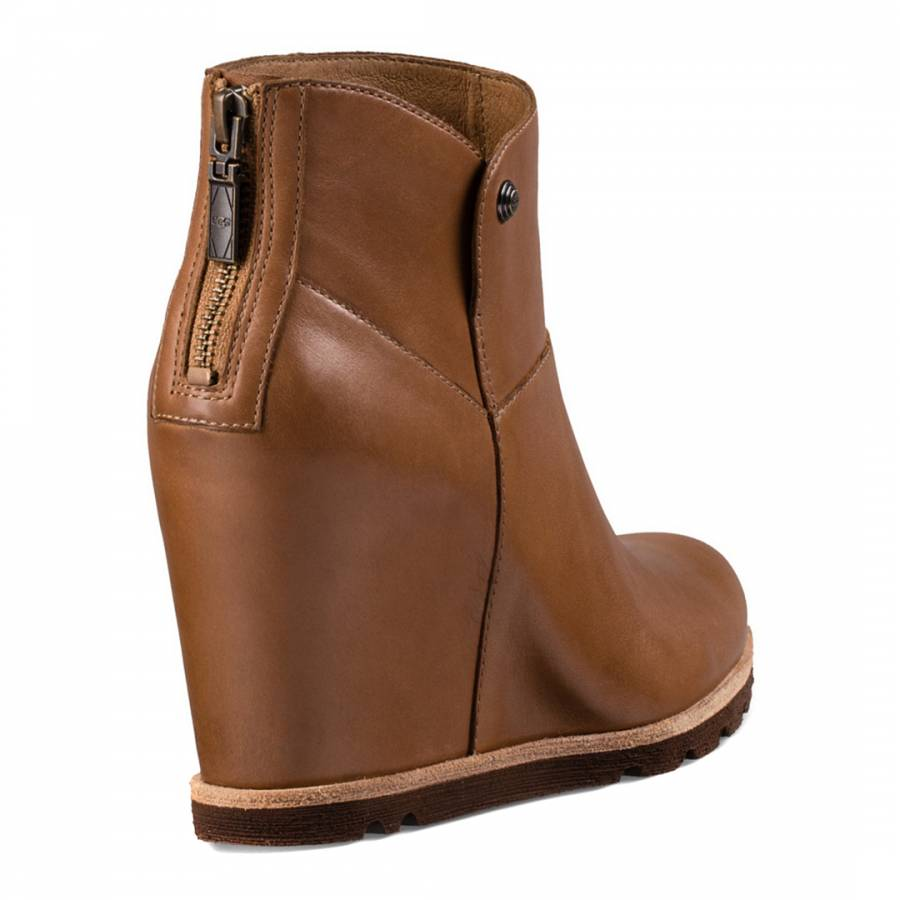chestnut leather amal wedge ankle boots brandalley