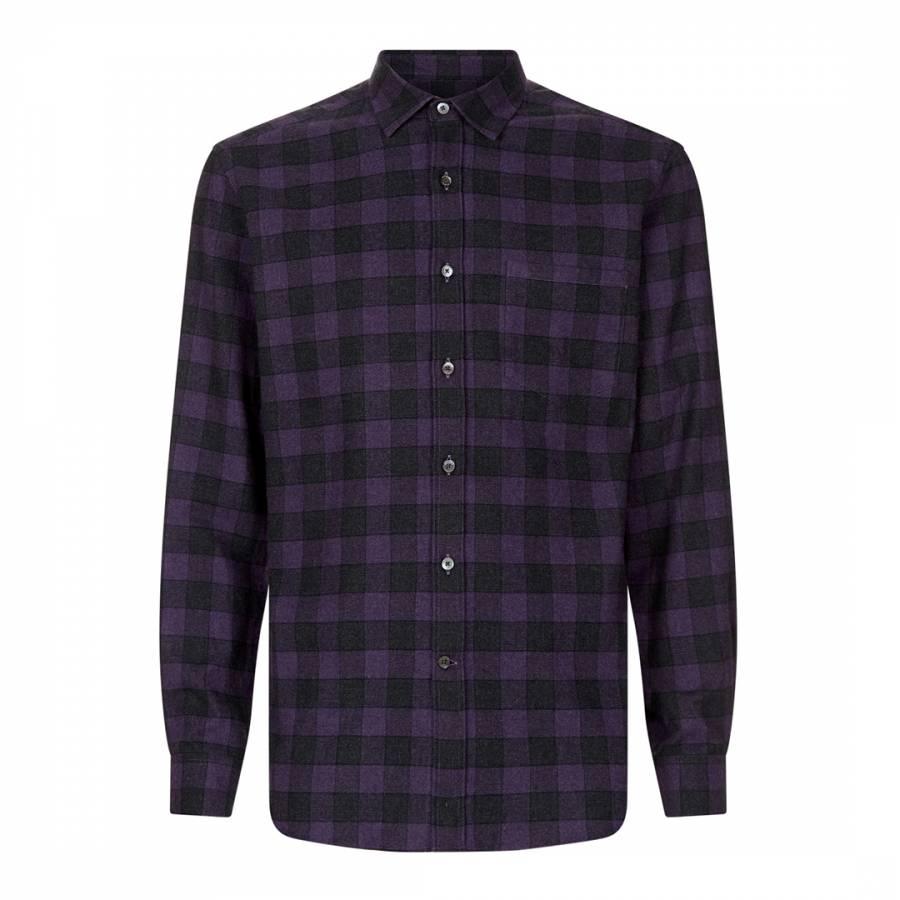 Joe Wenko Men Slim All-Match Button-Down Long-Sleeve Plaid Top Shirts