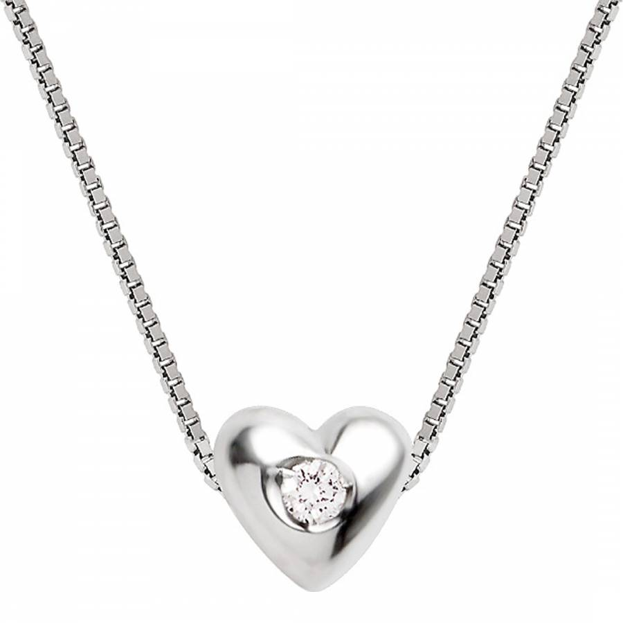 Sterling silver diamond heart pendant necklace 003ct brandalley diamant argent sterling silver diamond heart pendant necklace 003ct mozeypictures Choice Image