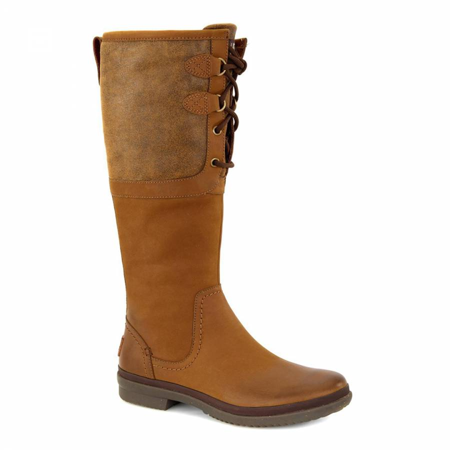 Chestnut Waterproof Leather Elsa Deco Quilted Boots