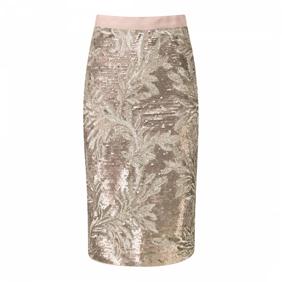 db6e37c333 Pure Collection Gold Sequin Pencil Skirt