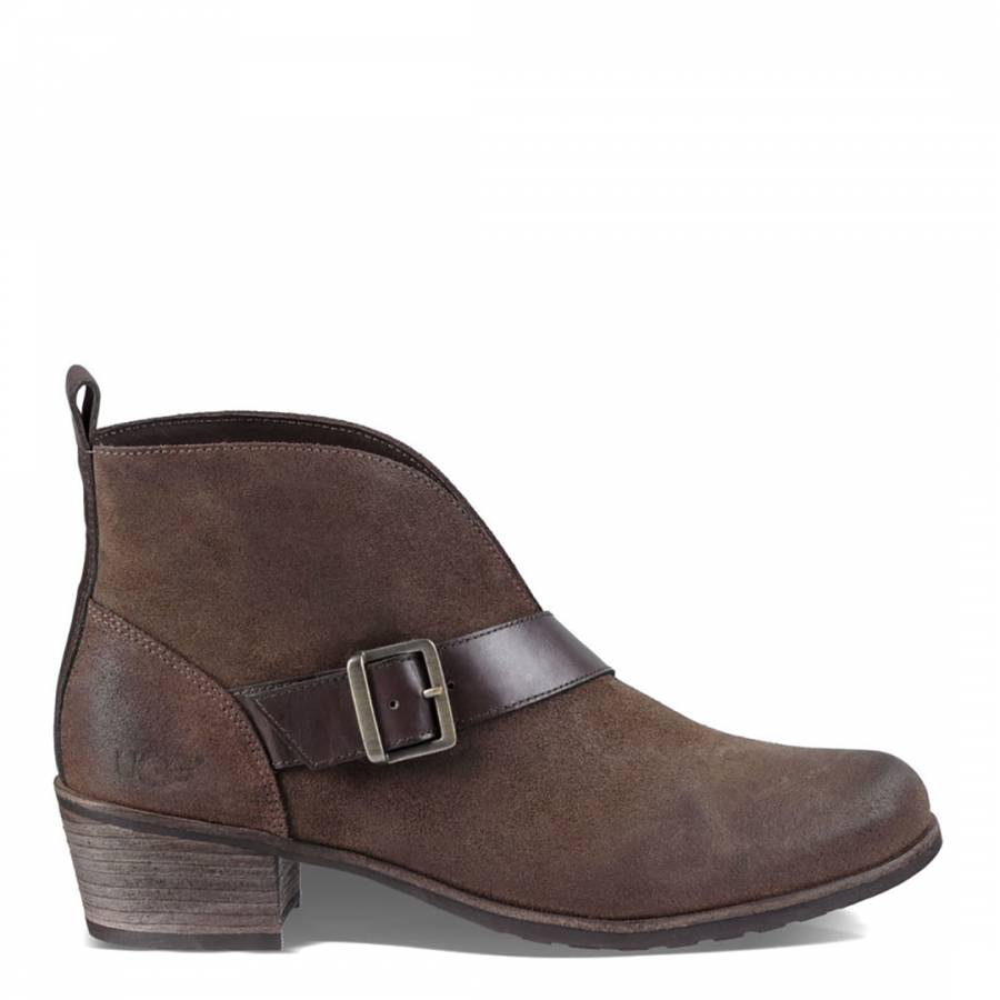ef9df16acba UGG Brown Suede Wright Belted Ankle Boots