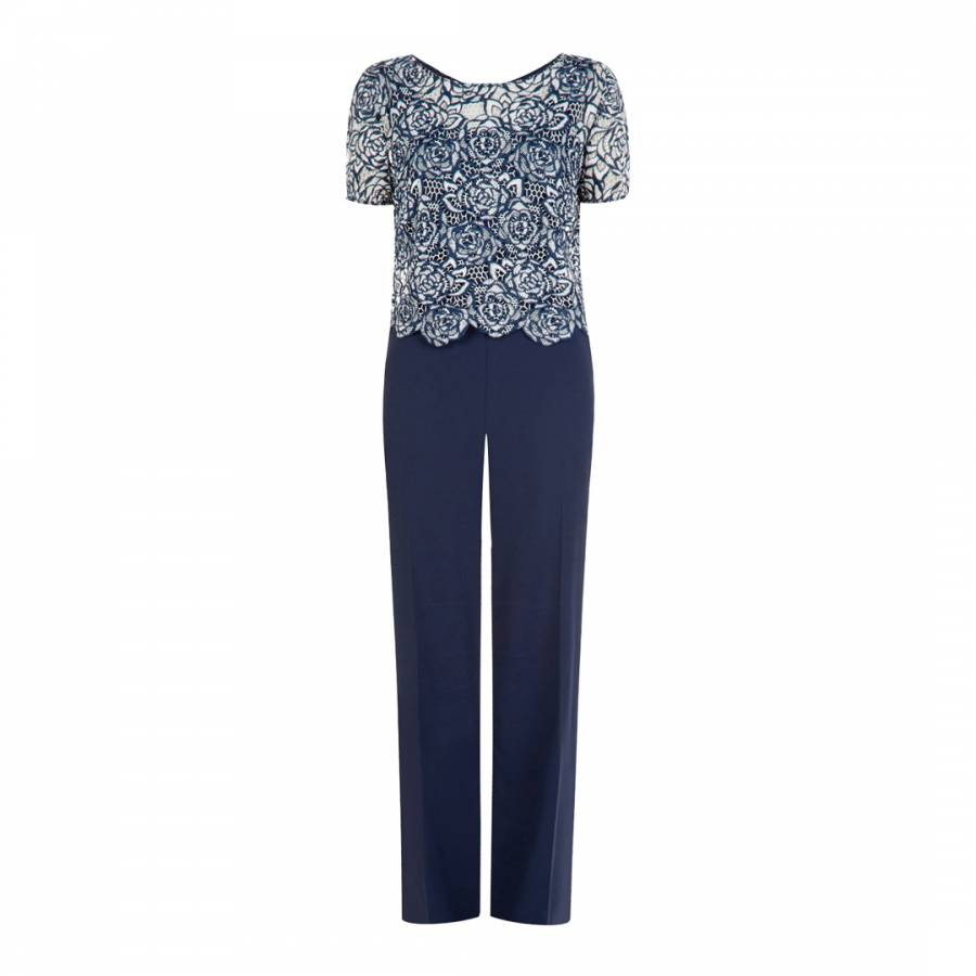 f74c1c0ed48 Fenn Wright Manson Navy And Ivory Donatello Fit And Flare Jumpsuit