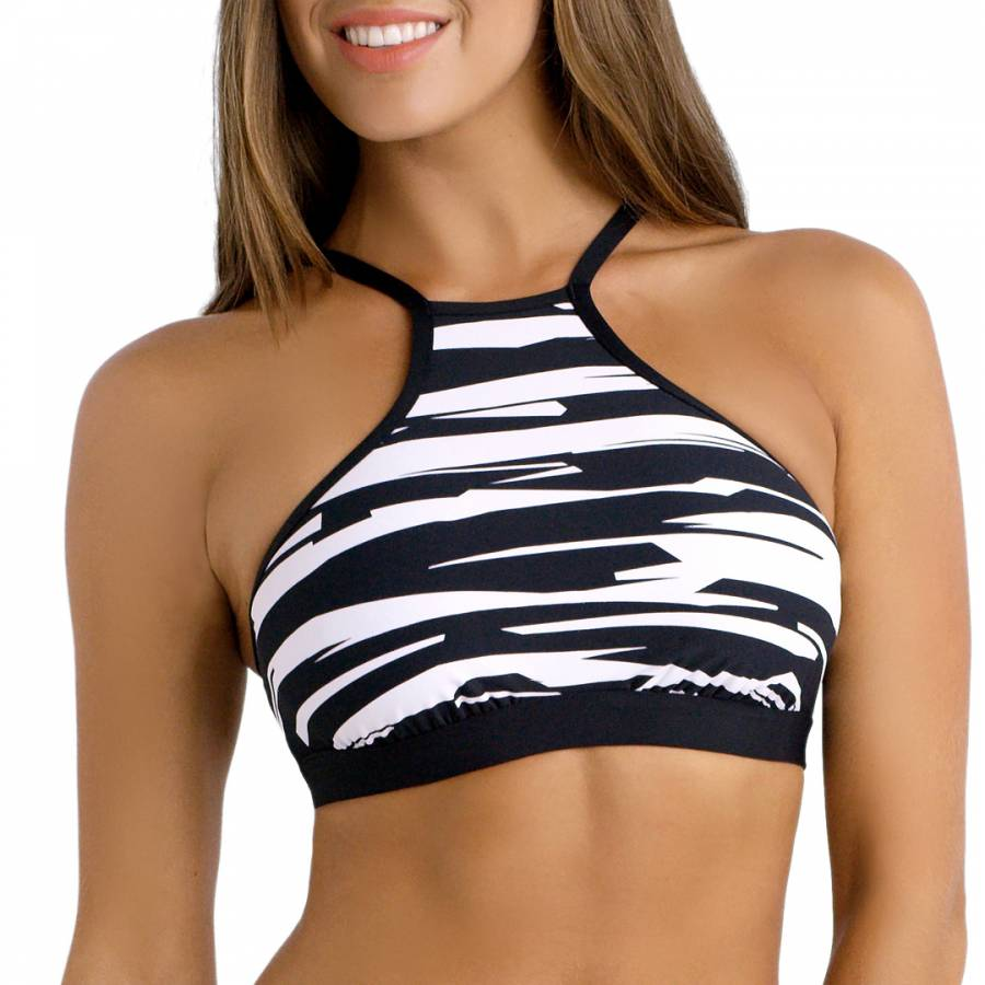 acf68069a02c7 Black White Fastlane DD High Neck Tank Bikini Top - BrandAlley