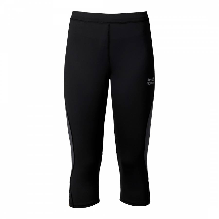 50720af2404e3a Jack Wolfskin Men's Black Passion Trail 3/4 Tights Cropped Running Trousers