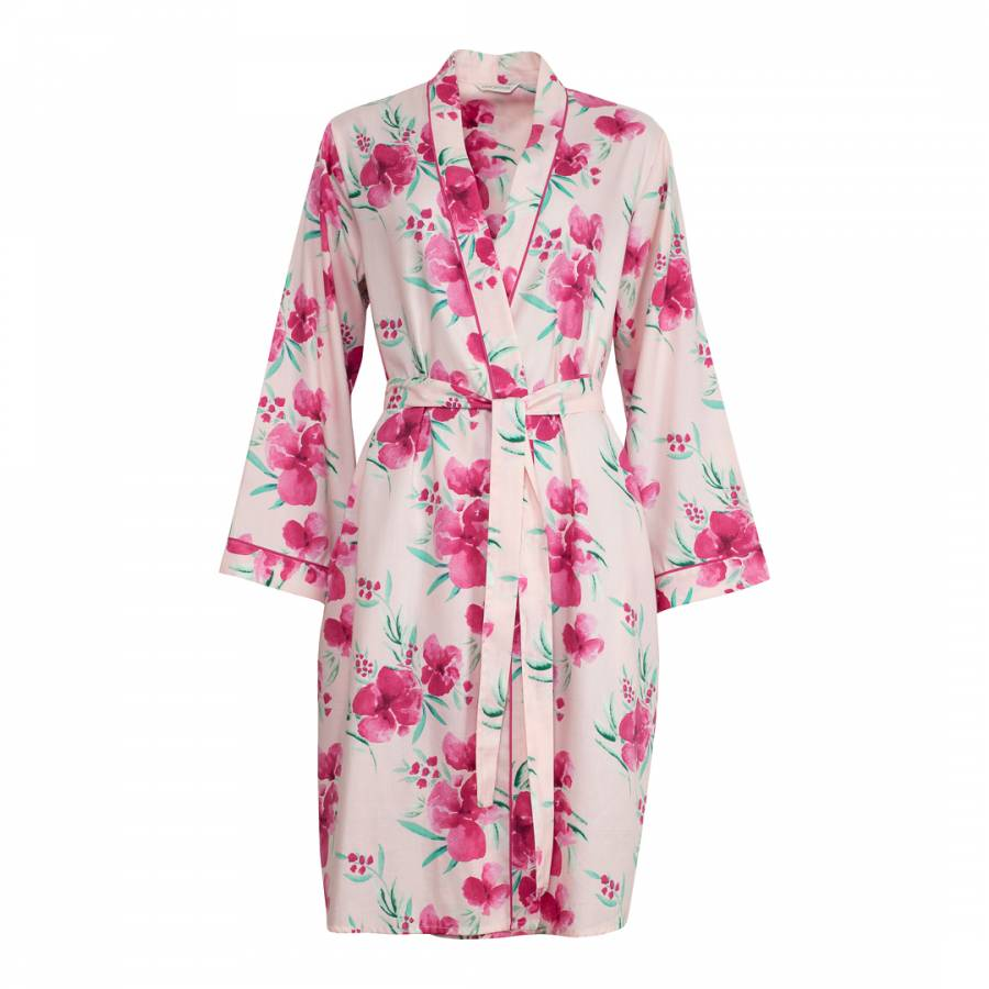 Women s Pink South Pacific Floral Print Short Robe - BrandAlley b91c190e6