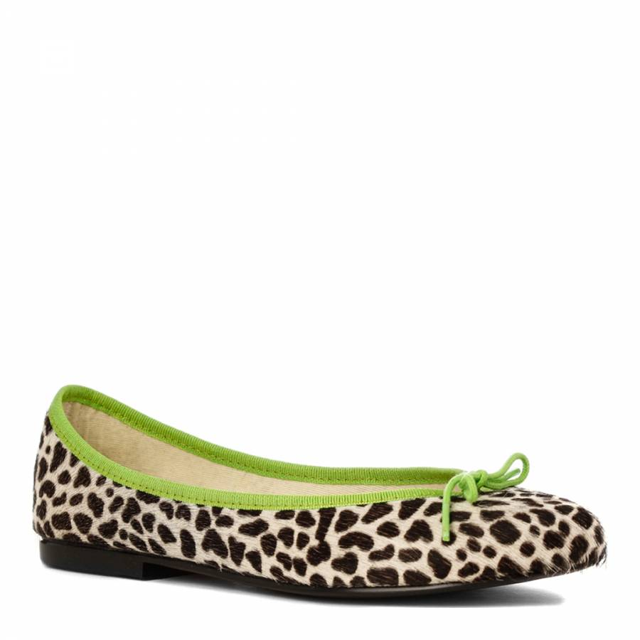 29c8023631e2 Snow Leopard Pony Hair Lime Green Trim India Ballet Flats - BrandAlley