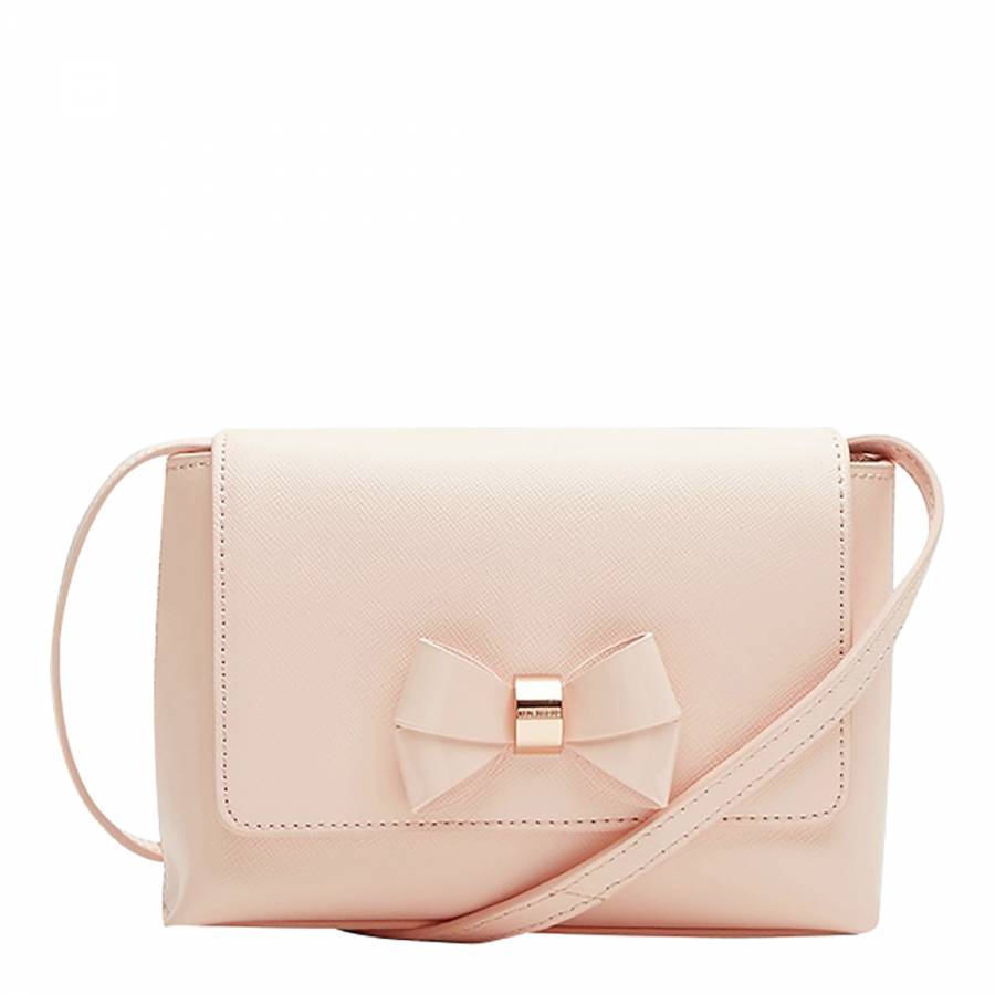 0cfbe9a64 Pale Pink Angiee Bow Detail Leather Crossbody Bag - BrandAlley