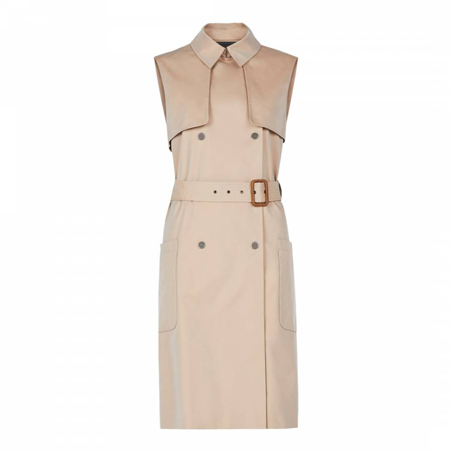 4f987631e Light Straw Lenard Double Breasted Trench Vest - BrandAlley
