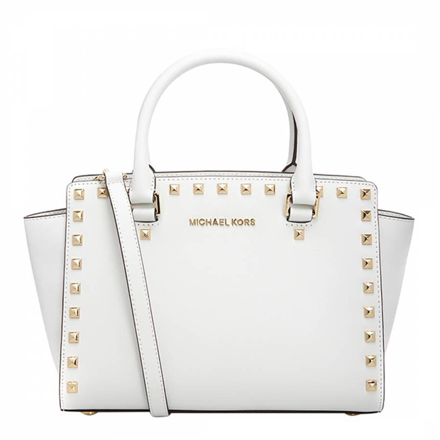 52e8f0fb9fdb Michael Kors White Leather Selma Studded Medium Satchel
