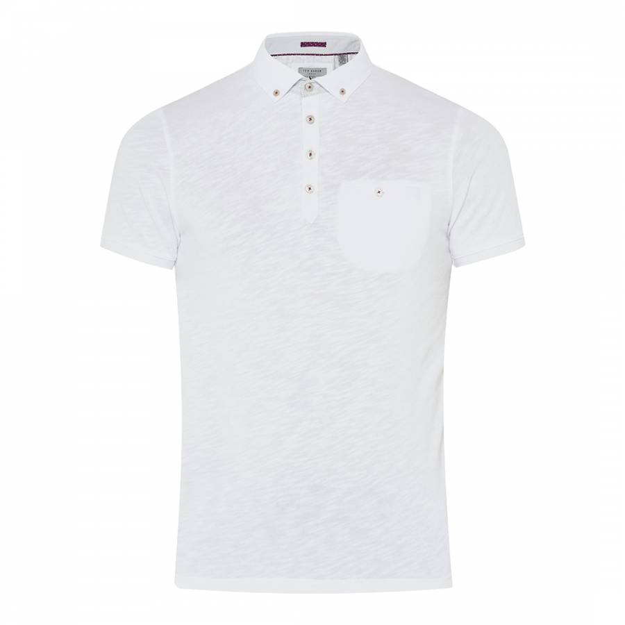Ted Baker White Treekal Linen Collar Polo Shirt