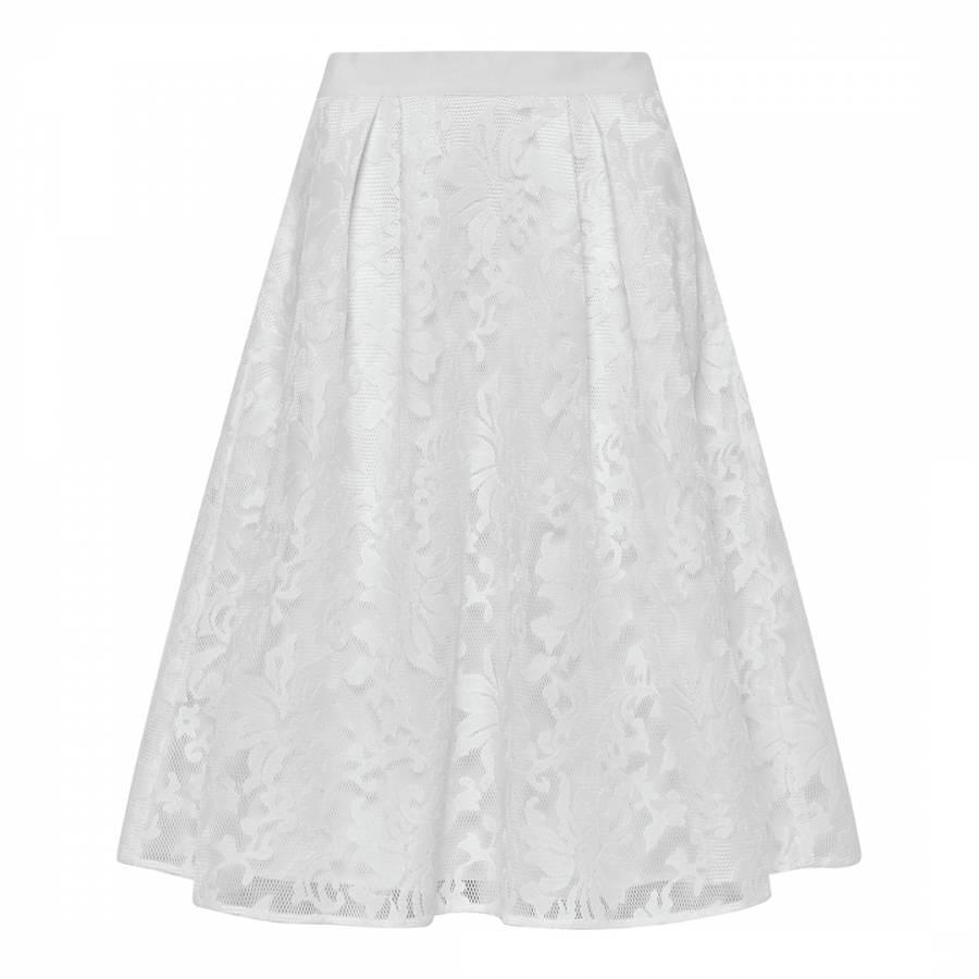 8a9549fbb7 White Hazil Lace Mesh Full Skirt - BrandAlley
