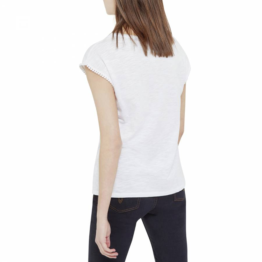 78eedc84d4ea White Tinah Broderie Trim Tee - BrandAlley