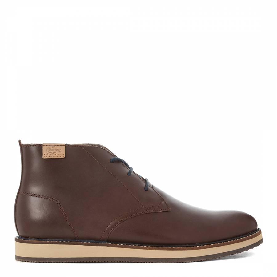 51342161474 Men's Dark Brown Leather Millard Chukka Boots - BrandAlley