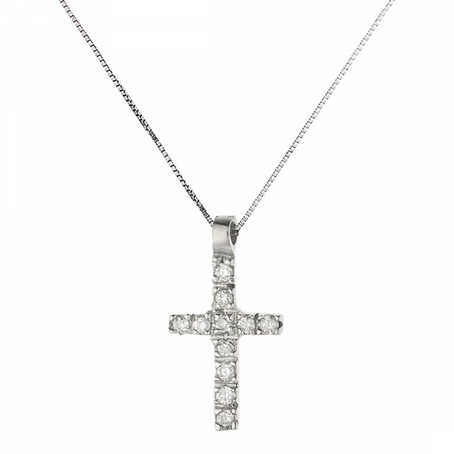 Image of Silver Cross Diamond Necklace 0.05cts