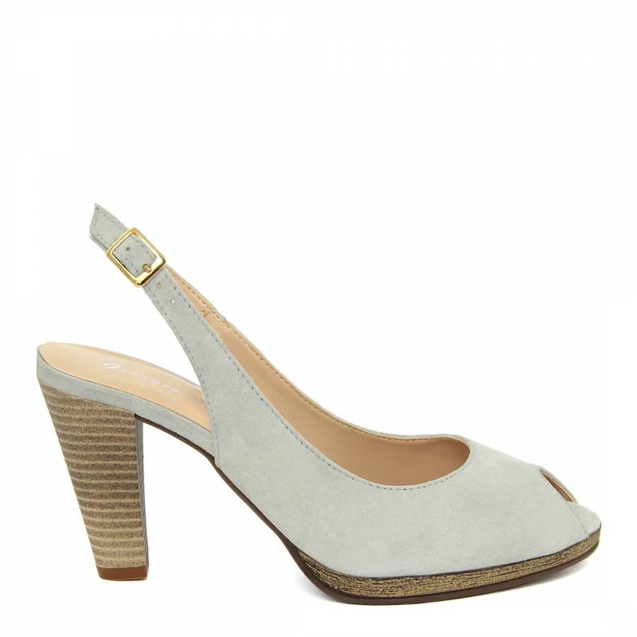 cf7004a9840 Giorgio Picino Light Grey Suede Sling Back Heels