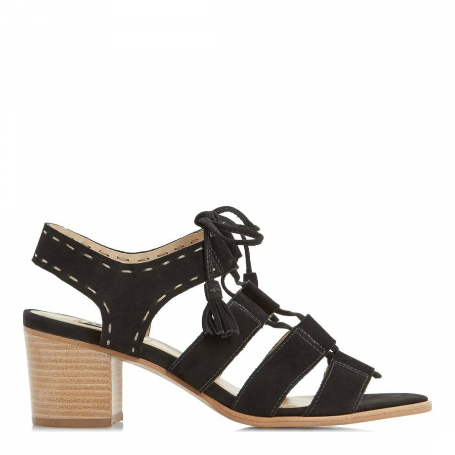 bec0fdb99a5e Black Suede Ghillie Lace Up Ivanna Block Heel Sandal - BrandAlley