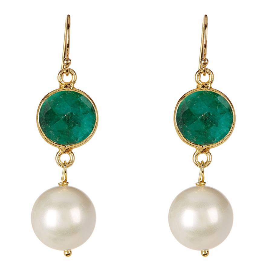 a9be2498079ce Gold Emerald and Pearl Drop Earrings