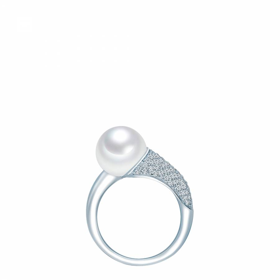 white freshwater pearl silver ring brandalley
