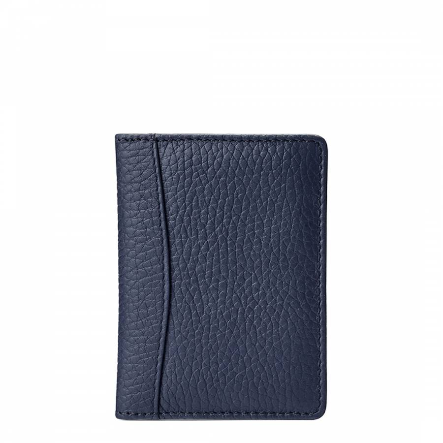 Aspinal of London Navy Pebble Leather Curved Double Fold Credit Card Case a77b73181600