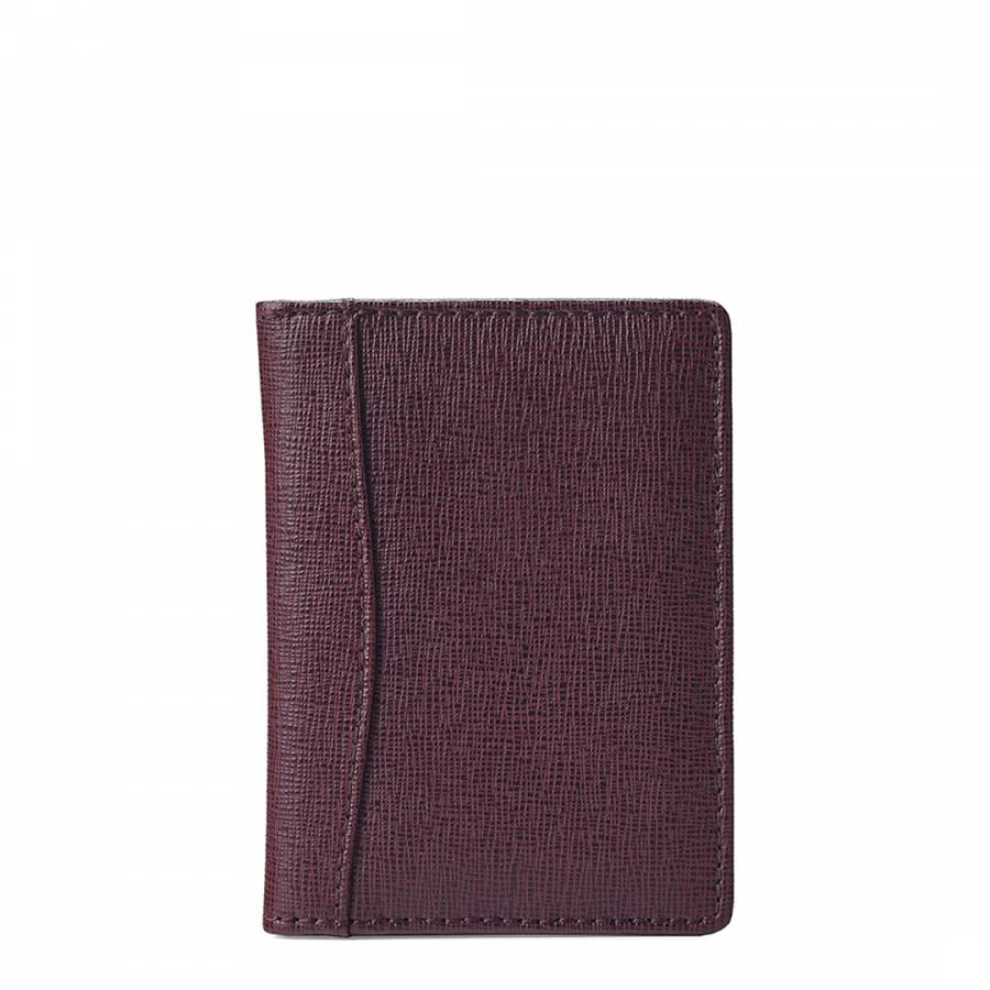 Aspinal of London Dark Red Leather Curved Double Fold Credit Card Case 165c1ec70f33