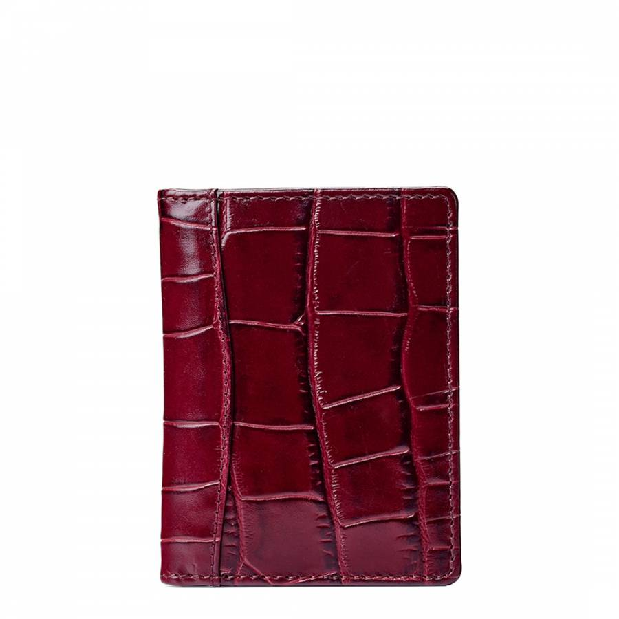 wholesale dealer d4f6a eb6dd Dark Red Croc Leather Curved Double Fold Credit Card Case