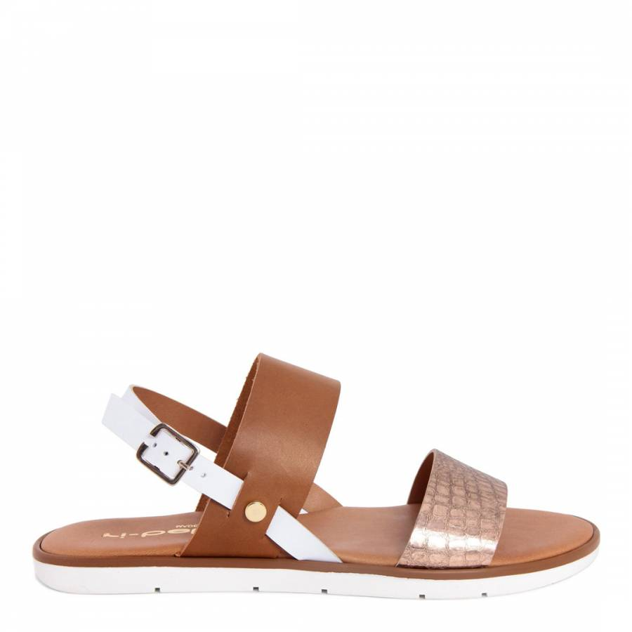 Ri-Belle Brown And Rose Gold Croc Print Double Strap Sandals