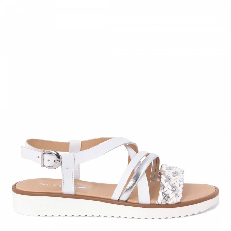 bbe84f90e ... White And Silver Braided Leather Strap Sandals. prev. next. Zoom