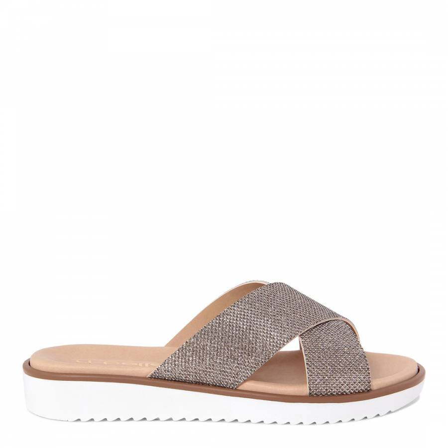 65eb84762 Rose Gold Glitter Crossover Sandals - BrandAlley