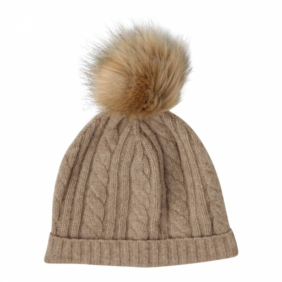 e9bc1a2fd89 Laycuna London Taupe Cashmere Cable Knit Faux Fur Bobble Hat