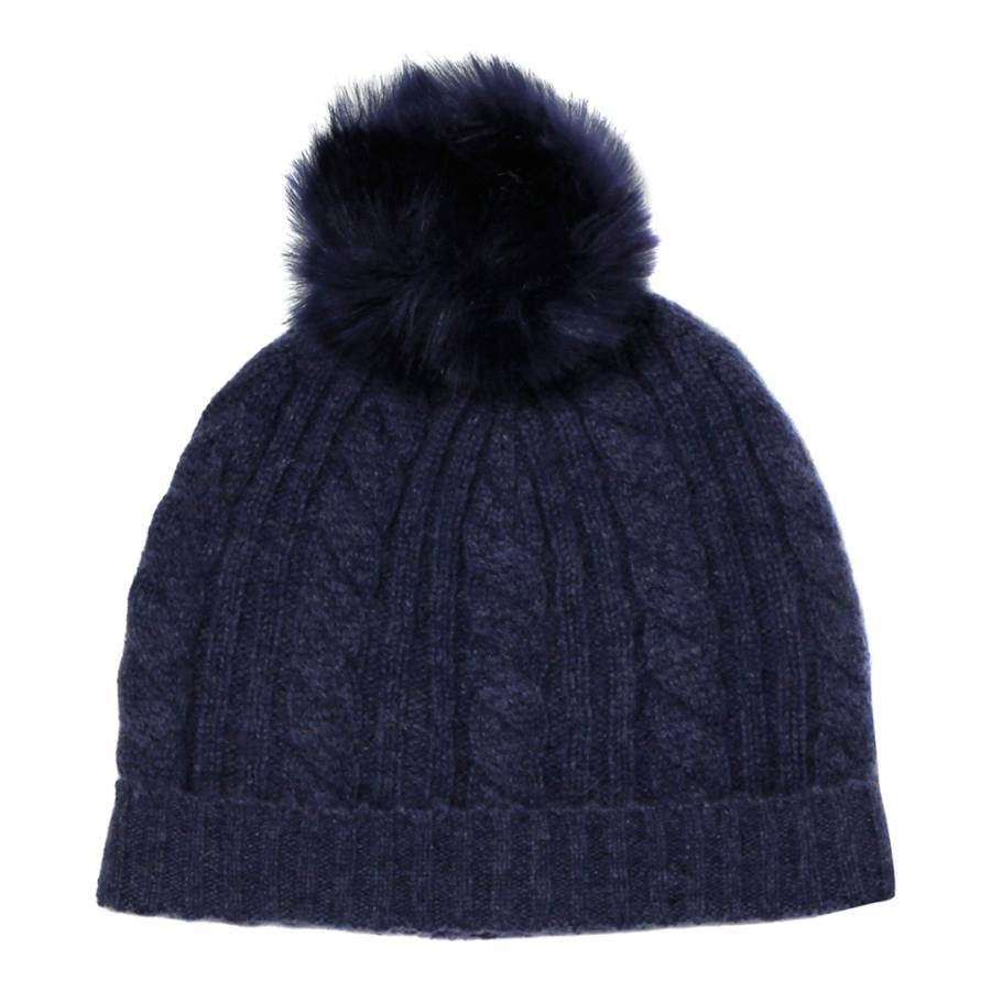 Laycuna London Dark Blue Cashmere Cable Knit Faux Fur Bobble Hat f6b2ef510ab9