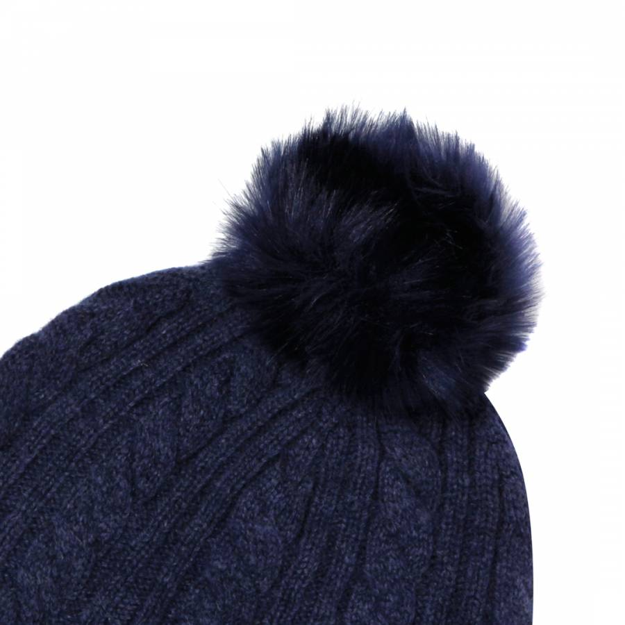 Dark Blue Cashmere Cable Knit Faux Fur Bobble Hat - BrandAlley a82db29d24f7
