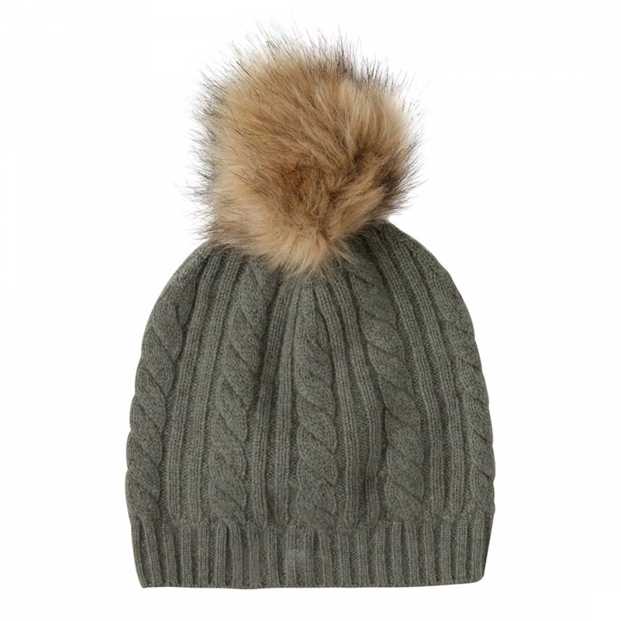 Laycuna London Khaki Cashmere Cable Knit Faux Fur Bobble Hat b492b18da00