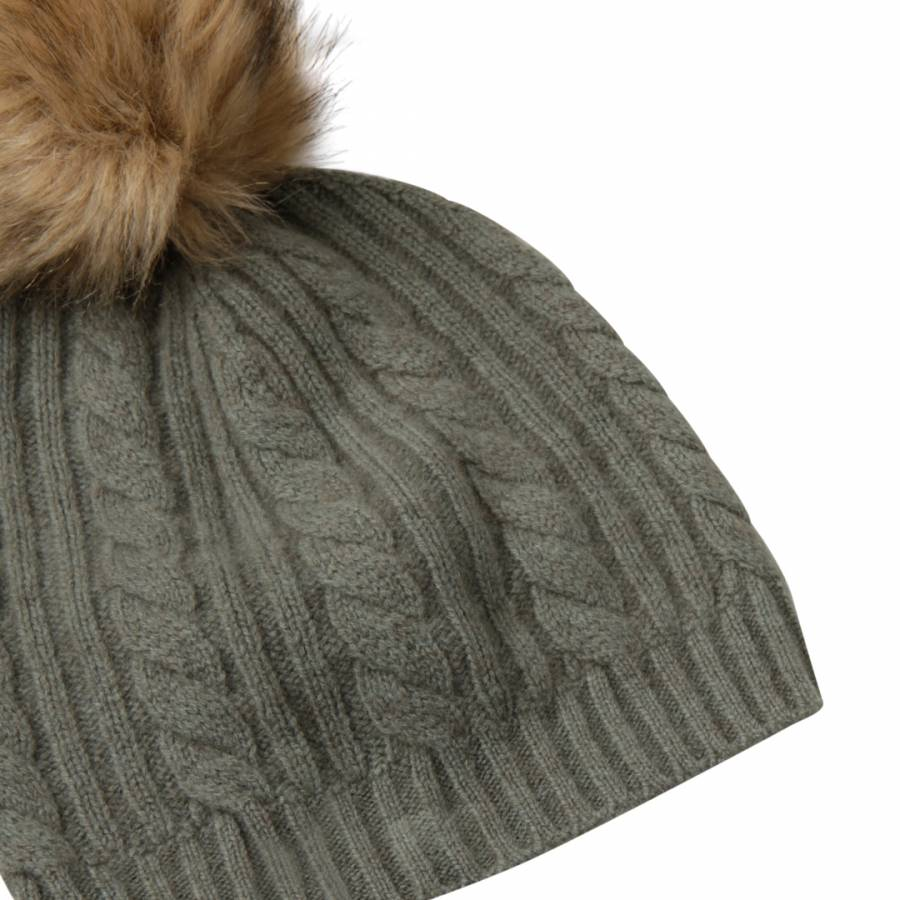 Khaki Cashmere Cable Knit Faux Fur Bobble Hat - BrandAlley f783bc15317c