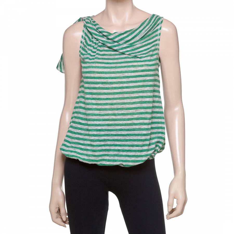 65e62f7b3788ba Leon Max Collection Green Grey Thick Striped Twisted Tank Top