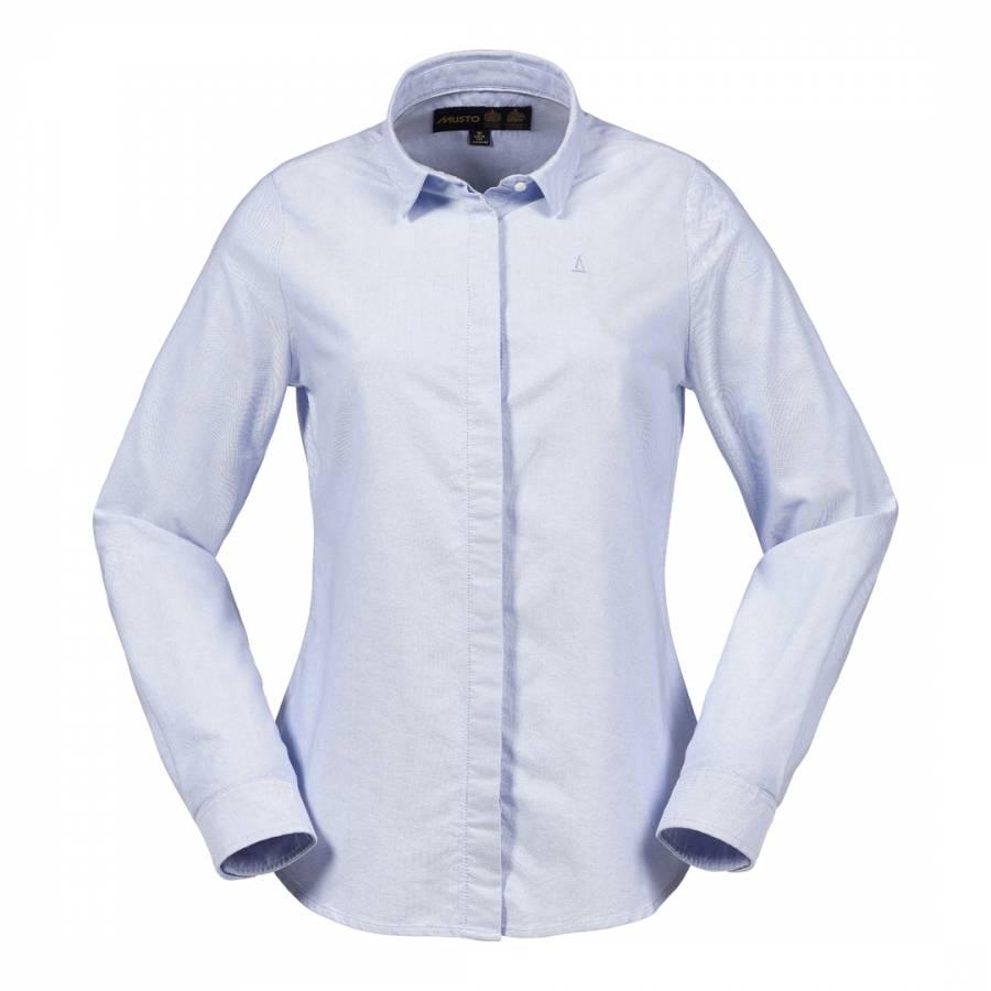 Women 39 S Pale Blue Bow Oxford Long Sleeve Cotton Shirt