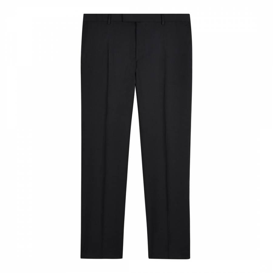 1d16fd0fa Black Slim Plain Twill Wool Trousers - BrandAlley