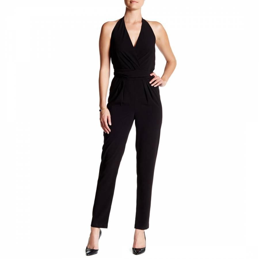 10784ece8956 Halston Heritage Black Halter Self Tie Crepe Jumpsuit