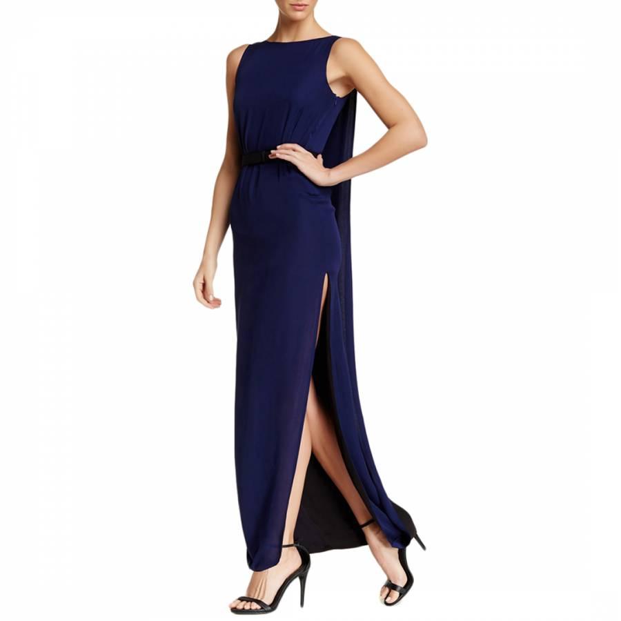 7a7223e9add143 Halston Heritage Medium Blue Sleeveless Two Tone Evening Gown