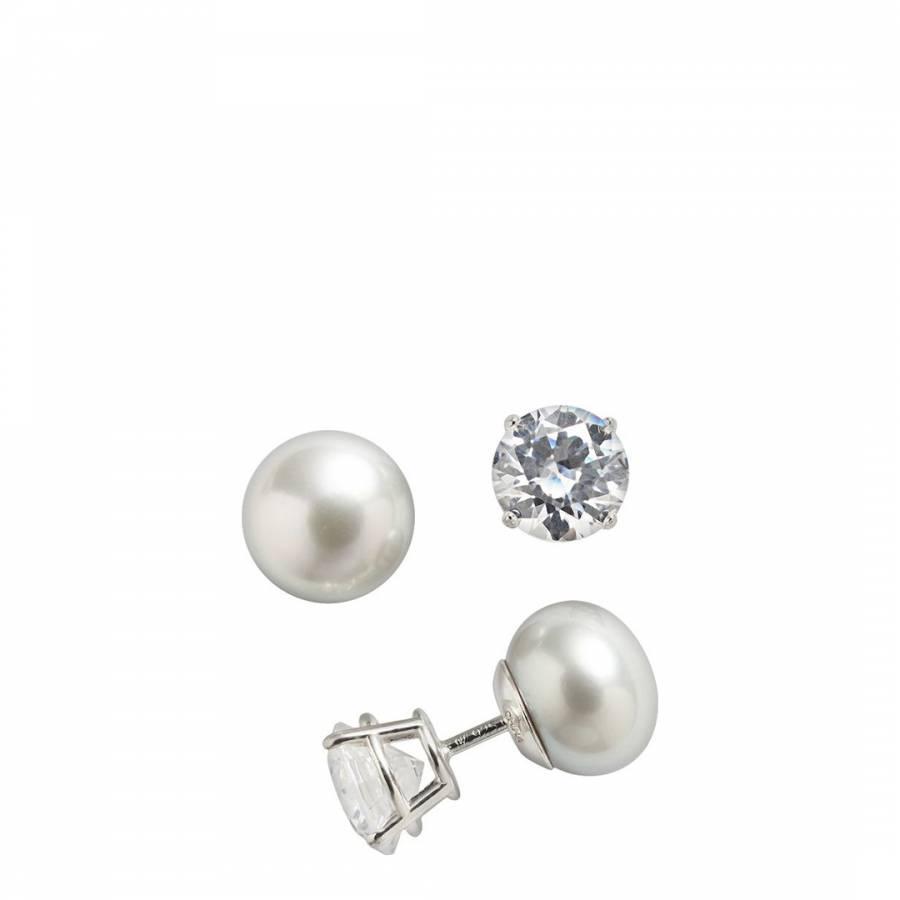 Silver Cubic Zirconia And Pearl Double Sided Earrings