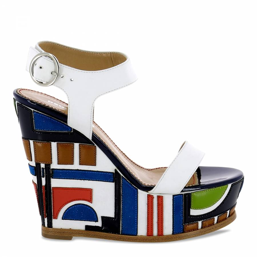 d45a4f0f46b Dsquared2 White Leather Multi Coloured Wedge Heels - BrandAlley