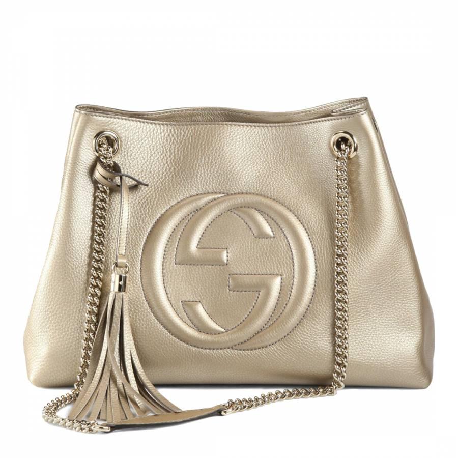 04586a996341 Gucci Gold Leather Disco Soho Shoulder Bag. prev. next. Zoom
