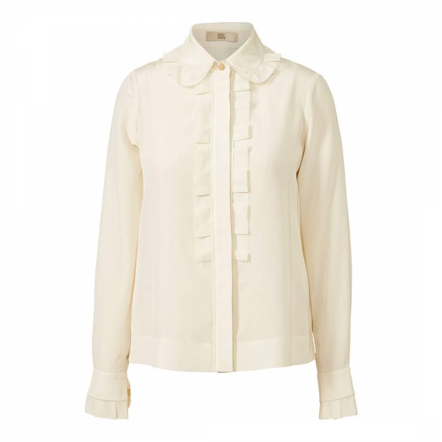 4d583ea5892b3 Cream Silk Crepe Collar Blouse - BrandAlley