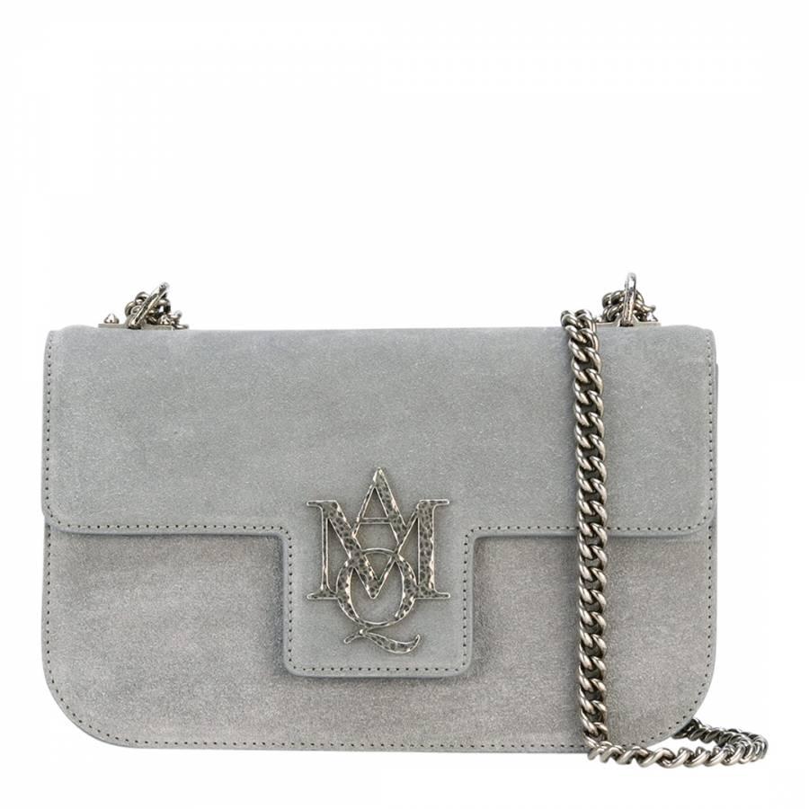 Alexander McQueen Grey Insignia Suede Shoulder Bag 5d7b25b929c0c